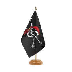 "Pirate with bandana Table Flag 6x9"", wooden"