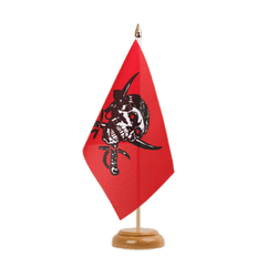 "Pirate on red shawl Table Flag 6x9"", wooden"