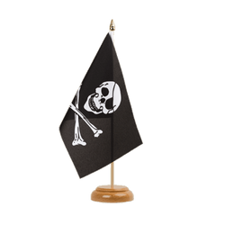 "Pirate Skull and Bones  Table Flag 6x9"", wooden"