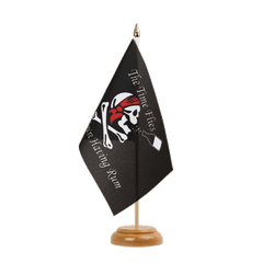 "Pirate The Time Flies When You Are Having Fun Table Flag 6x9"", wooden"