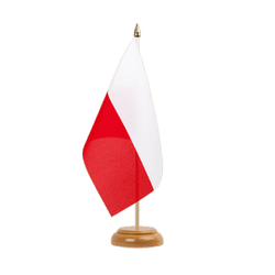 "Poland Table Flag 6x9"", wooden"