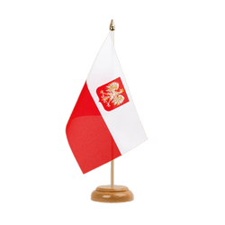 "Poland with eagle Table Flag 6x9"", wooden"