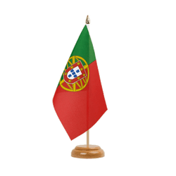 Drapeau de table Portugal - 15 x 22 cm, bois