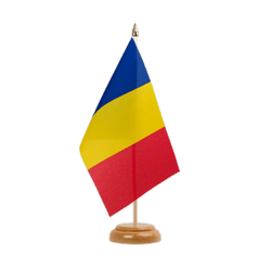"Rumania Table Flag 6x9"", wooden"