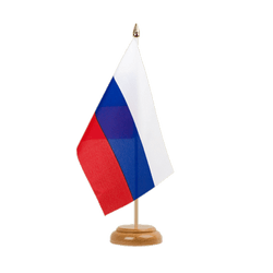 "Russia Table Flag 6x9"", wooden"