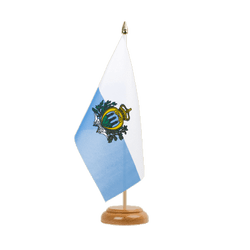 "San Marino Table Flag 6x9"", wooden"