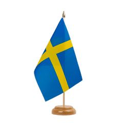 "Sweden Table Flag 6x9"", wooden"