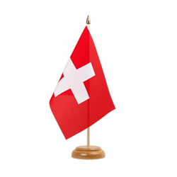 "Switzerland Table Flag 6x9"", wooden"