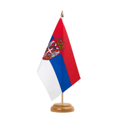 "Serbia with crest Table Flag 6x9"", wooden"