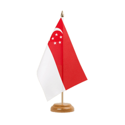 "Singapore Table Flag 6x9"", wooden"