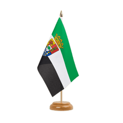 "Extremadura Table Flag 6x9"", wooden"