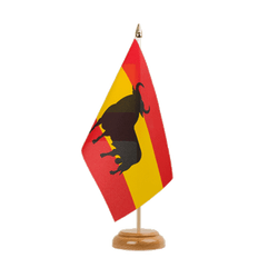 "Spain with bull - Table Flag 6x9"", wooden"