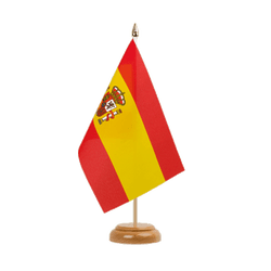 "Spain with crest Table Flag 6x9"", wooden"
