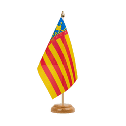 "Valencia - Table Flag 6x9"", wooden"