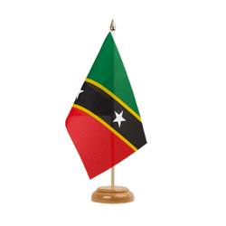 "Saint Kitts and Nevis Table Flag 6x9"", wooden"