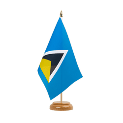"Saint Lucia Table Flag 6x9"", wooden"