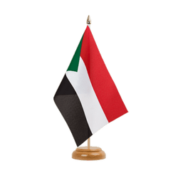 "Sudan  Table Flag 6x9"", wooden"