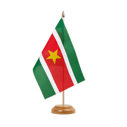 "Suriname  Table Flag 6x9"", wooden"