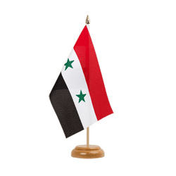 "Syria - Table Flag 6x9"", wooden"