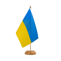 Drapeau de table Ukraine 15 x 22 cm, bois