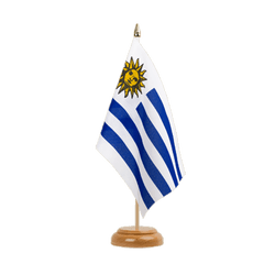 "Uruguay Table Flag 6x9"", wooden"