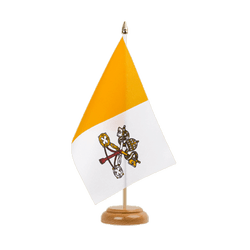 "Vatican  Table Flag 6x9"", wooden"