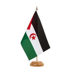 Drapeau de table Sahara occidental 15 x 22 cm, bois