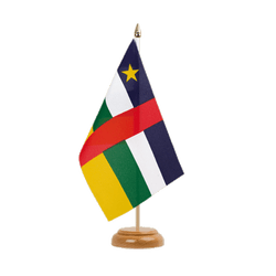 "Central African Republic Table Flag 6x9"", wooden"