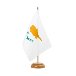 "Cyprus Table Flag 6x9"", wooden"