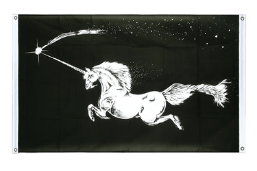 Unicorn black Banner Flag 3x5 ft, landscape
