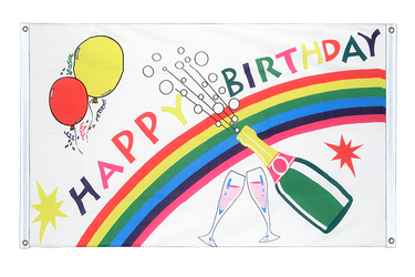 Happy Birthday Banner Flag 3x5 ft, landscape