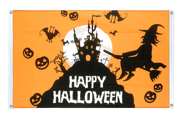 Happy Halloween orange Banner Flag 3x5 ft, landscape
