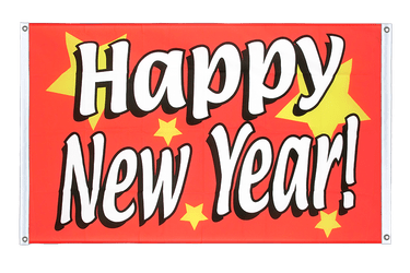 Happy New Year Banner Flag 3x5 ft, landscape