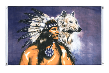 Indian with wolf Banner Flag 3x5 ft, landscape