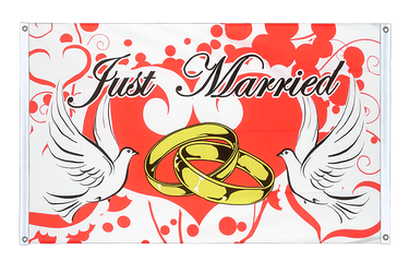 Just Married Bannerfahne VA Ösen 90 x 150 cm, quer
