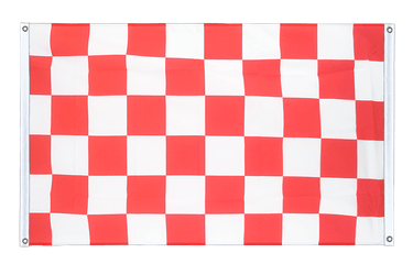 Checkered Red-White Banner Flag 3x5 ft, landscape