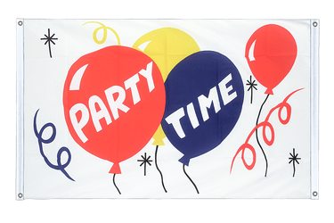 Party Time - Banner Flag 3x5 ft, landscape
