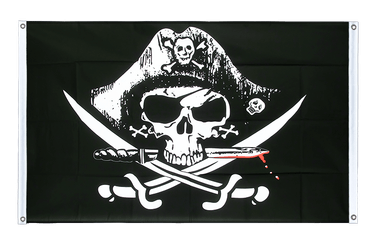 Pirate with bloody sabre Banner Flag 3x5 ft, landscape