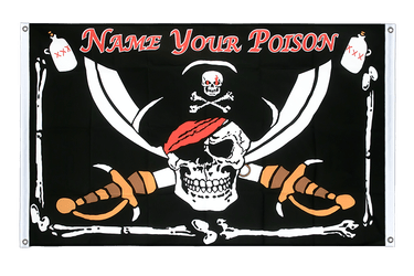 Bannière Pirate Name your Poison Oeillets 90 x 150 cm, paysage