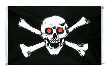Pirate with red eyes Banner Flag 3x5 ft, landscape