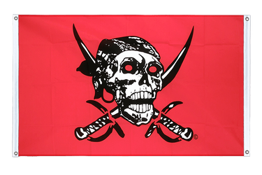 Pirate on red shawl - Banner Flag 3x5 ft, landscape
