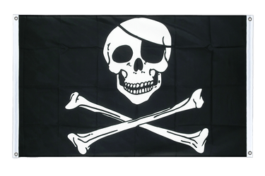 Pirate Skull and Bones Banner Flag 3x5 ft, landscape
