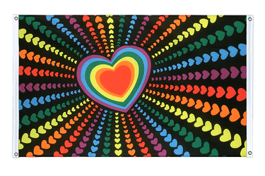 Rainbow Love Banner Flag 3x5 ft, landscape