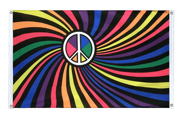 Rainbow Peace Swirl Banner Flag 3x5 ft, landscape
