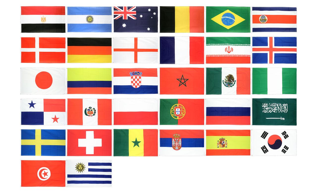 Kit drapeaux coupe du monde 2018 90 x 150 cm monsieur - Coupe du monde 2018 pays organisateur ...