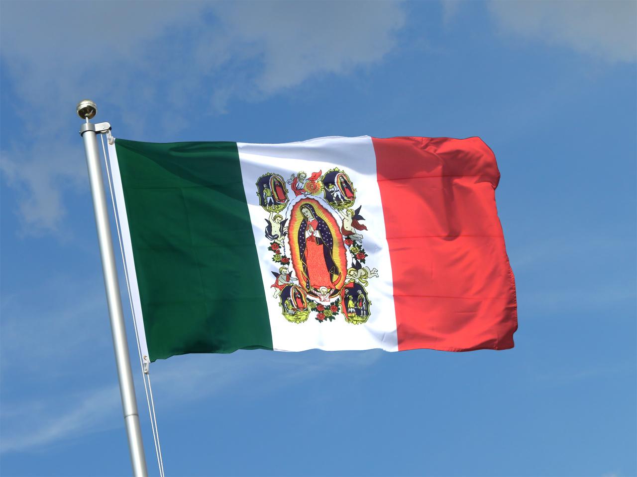 Drapeau Mexico Avec Vierge De Guadalupe 90 X 150 Cm
