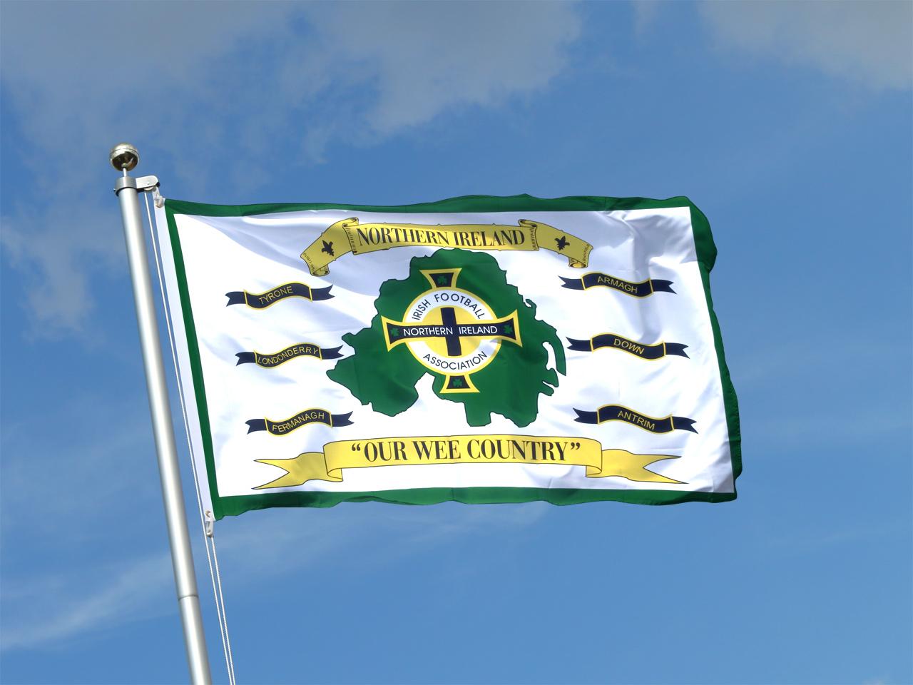 acheter drapeau irlande du nord association de football blanc 90 x 150 cm monsieur des drapeaux. Black Bedroom Furniture Sets. Home Design Ideas