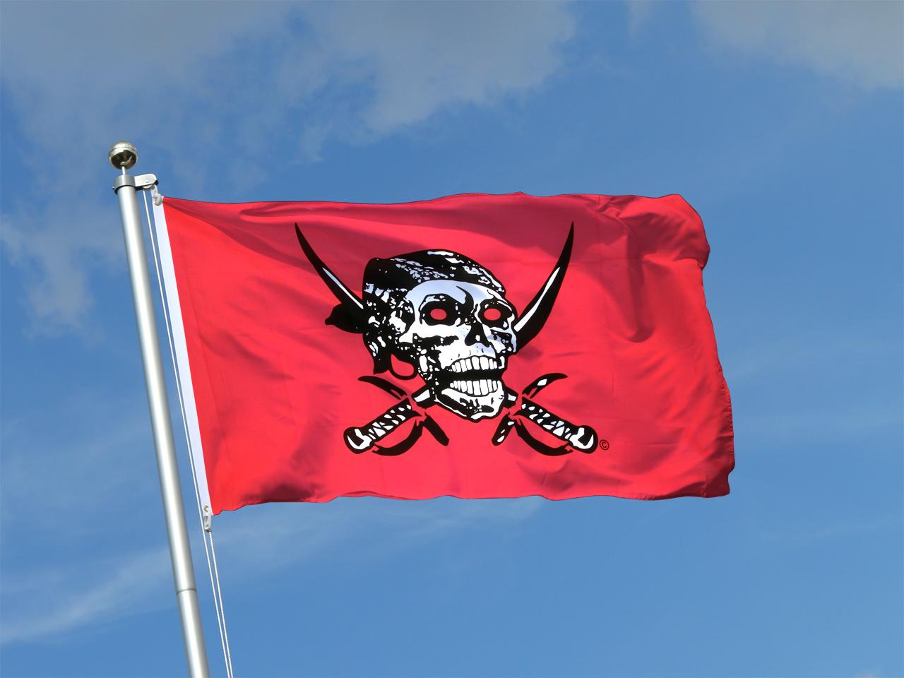 Drapeau pirate rouge 90 x 150 cm monsieur drapeaux - Monsieur pirate ...