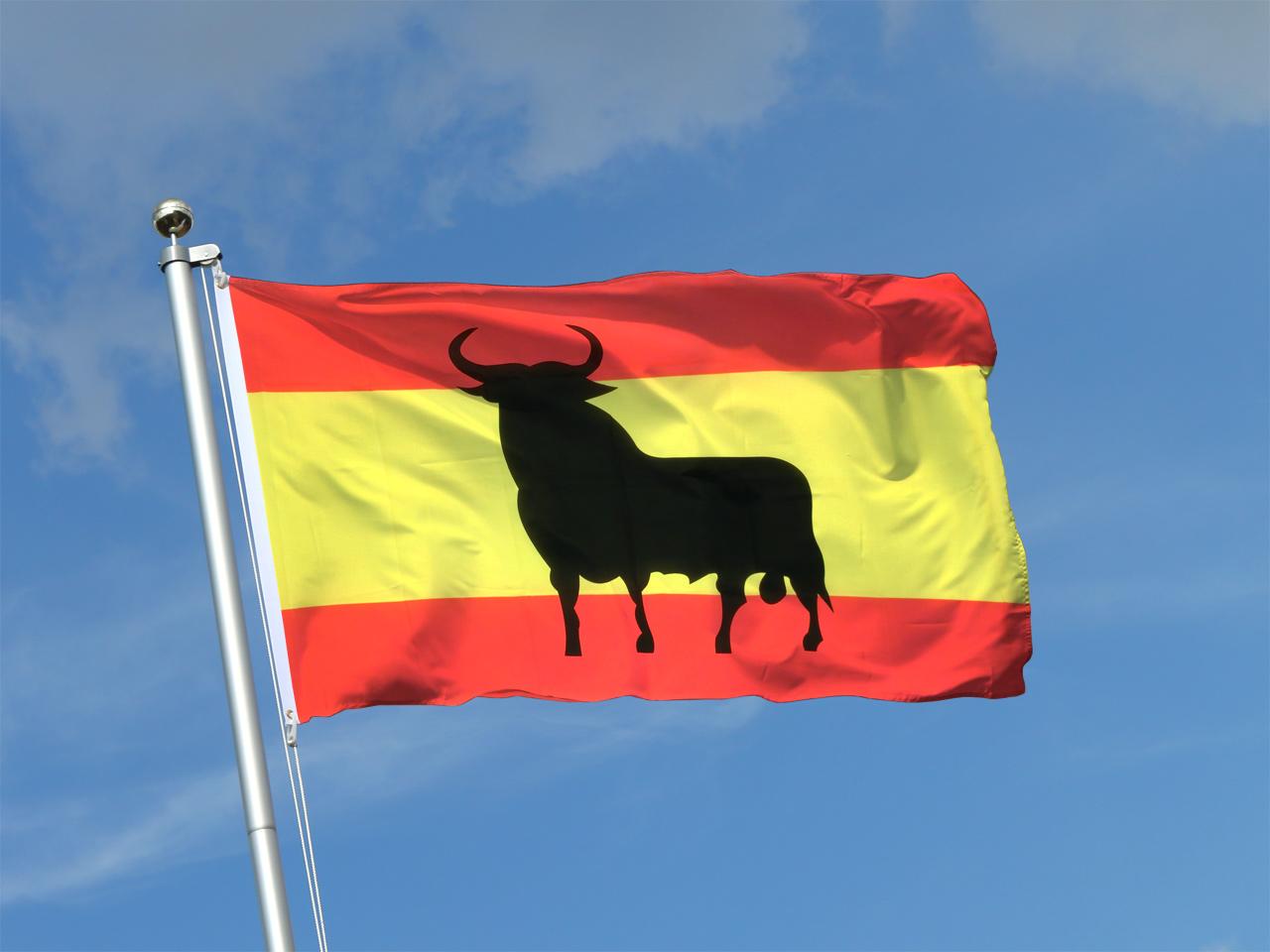 Flagge spanien mit stier kaufen 90 x 150 cm for Dekoration spanien