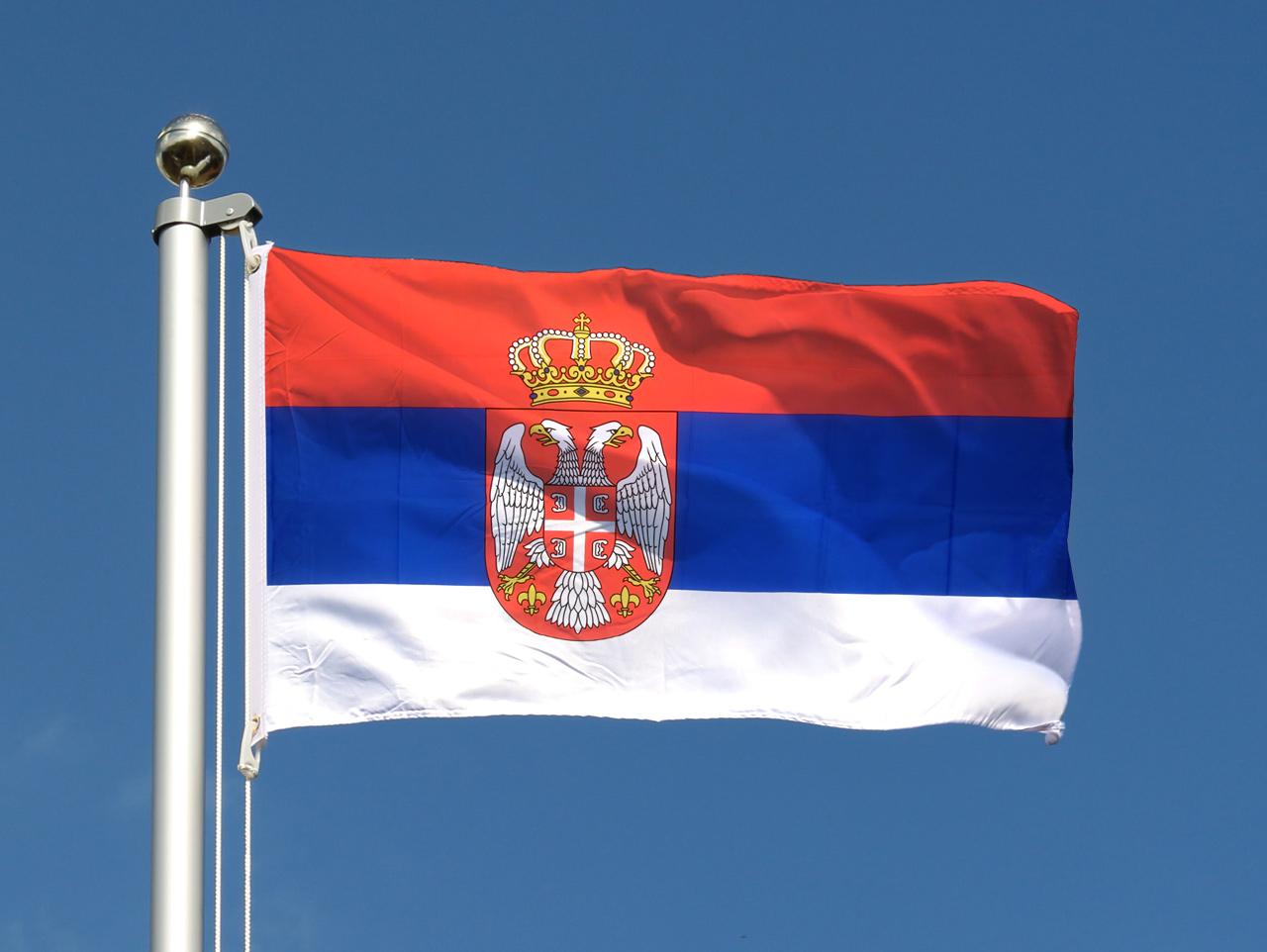 drapeau pas cher serbie avec blason 60 x 90 cm m des